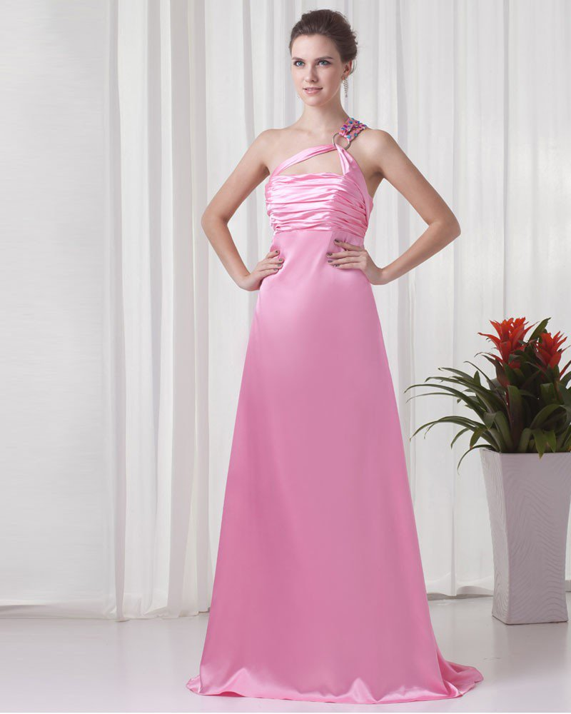 Charmeuse One Shoulder Floor Length Pleated Beading Woman Evening Dress
