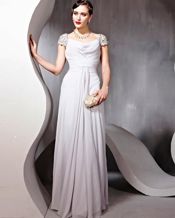 Chiffon Tulle Charmeuse Beading Applique Square Neck Floor Length Evening Dresses