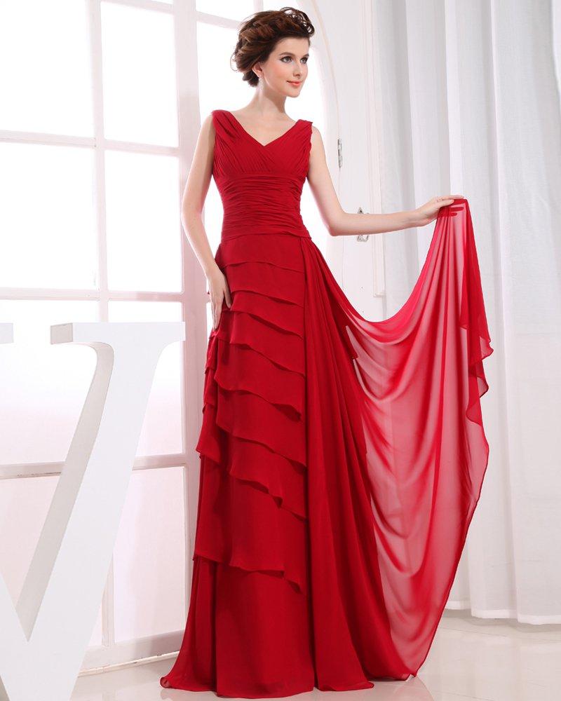 V Neck Sleeveless Zipper Pleated Floor Length Chiffon Charmeuse Silk Woman Evening Dress