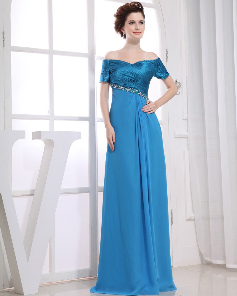 Strapless Short Sleeve Zipper Floor Length Beading Pleated Woman Evening Dresses