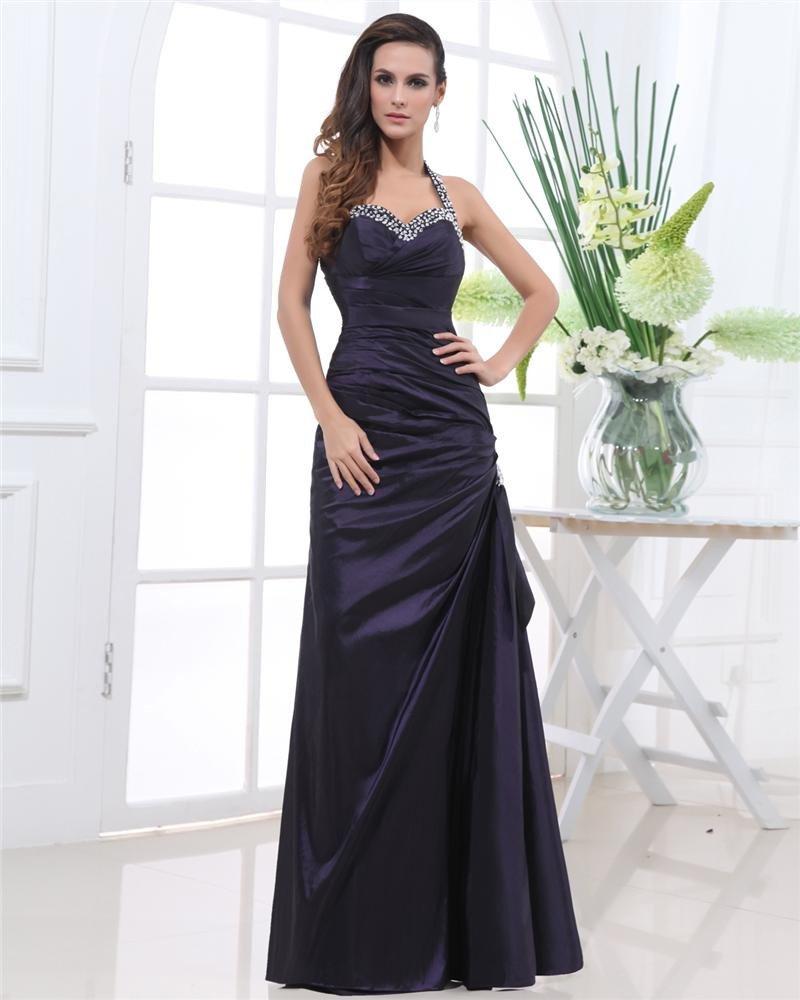 Taffeta Ruffle Beads Halter Floor Length Evening Dresses