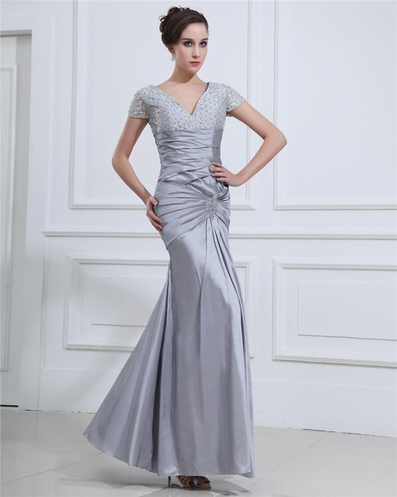 Empire Ruffle Charmeuse V-Neck Floor Length Women's Evening Dress