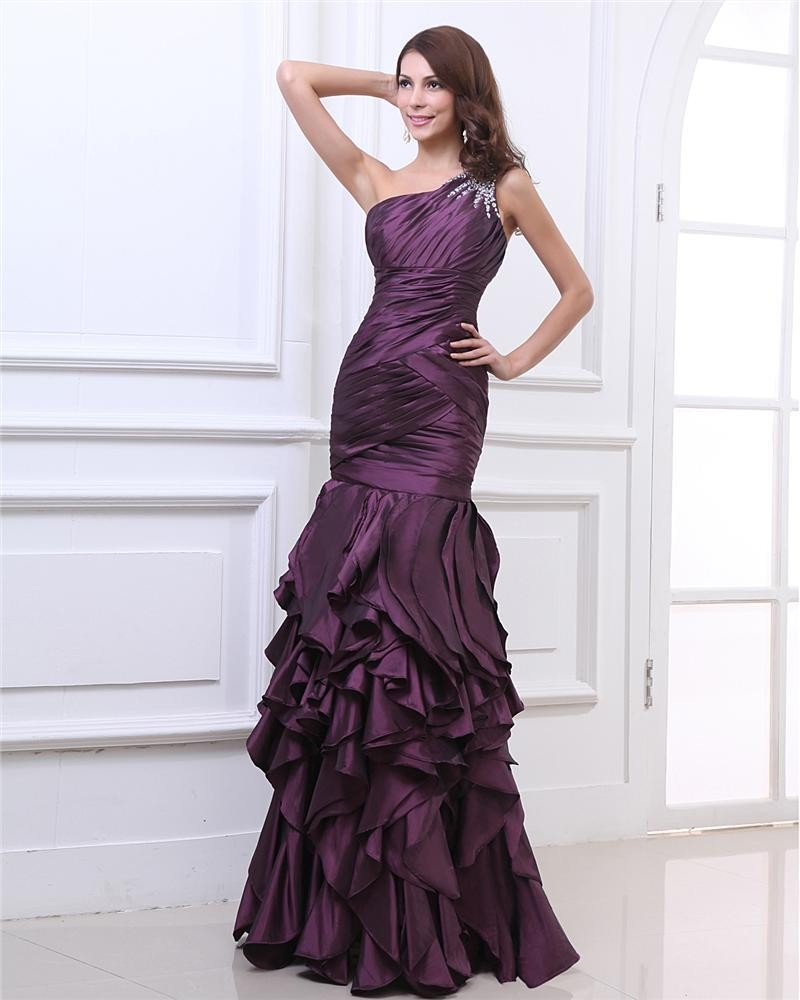 One Shoulder Beading Pleated Floor Length Layered Taffeta Woman Evening Dress