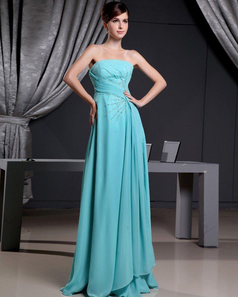 Fashion Chiffon Charmeuse Silk Beaded Pleated Strapless Court Train Sleeveless Women Evening Dress