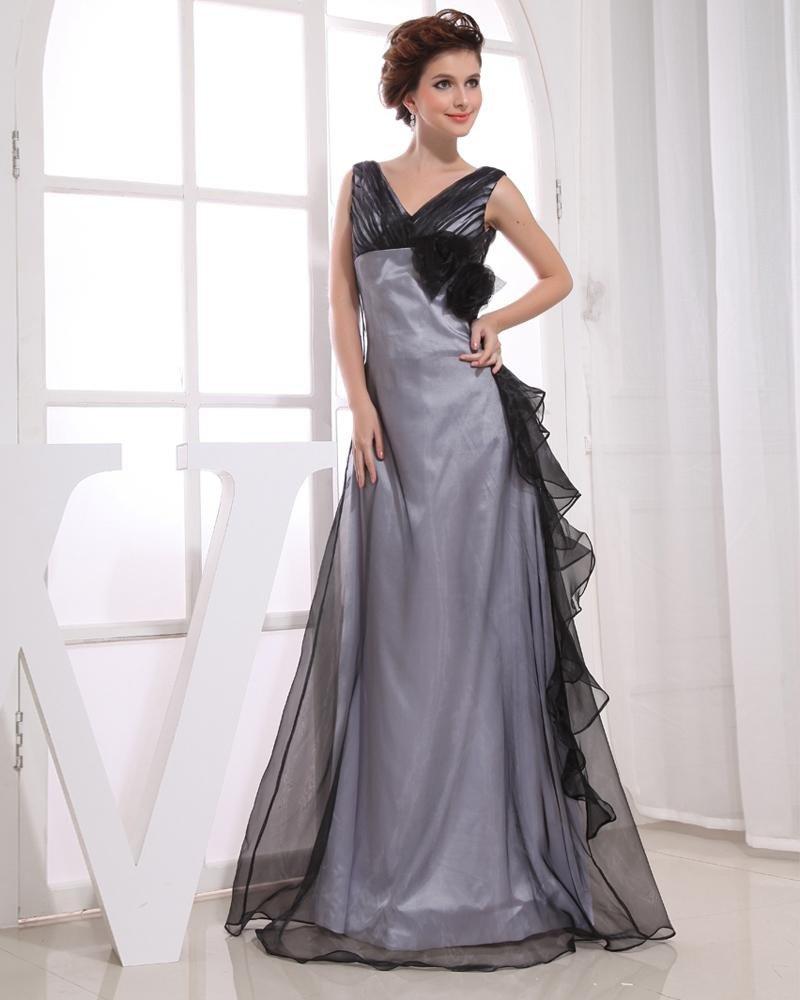 Charmeuse Silk V Neck Sleeveless Zipper Flower Floor Length Woman Evening Dress