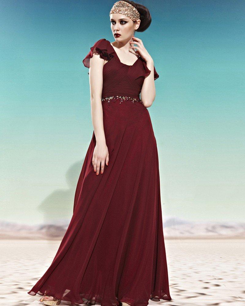 U Shaped Neck Beading Ruffle Short Sleeve Zipper Empire Floor Length Charmeuse Woman Evening Dress