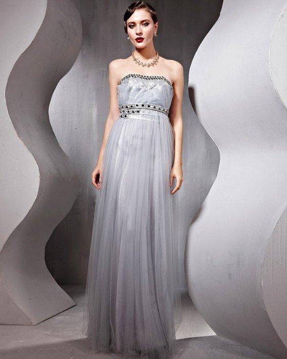 Beaded Ruffle Tulle Charmeuse Strapless Floor Length Evening Dresses