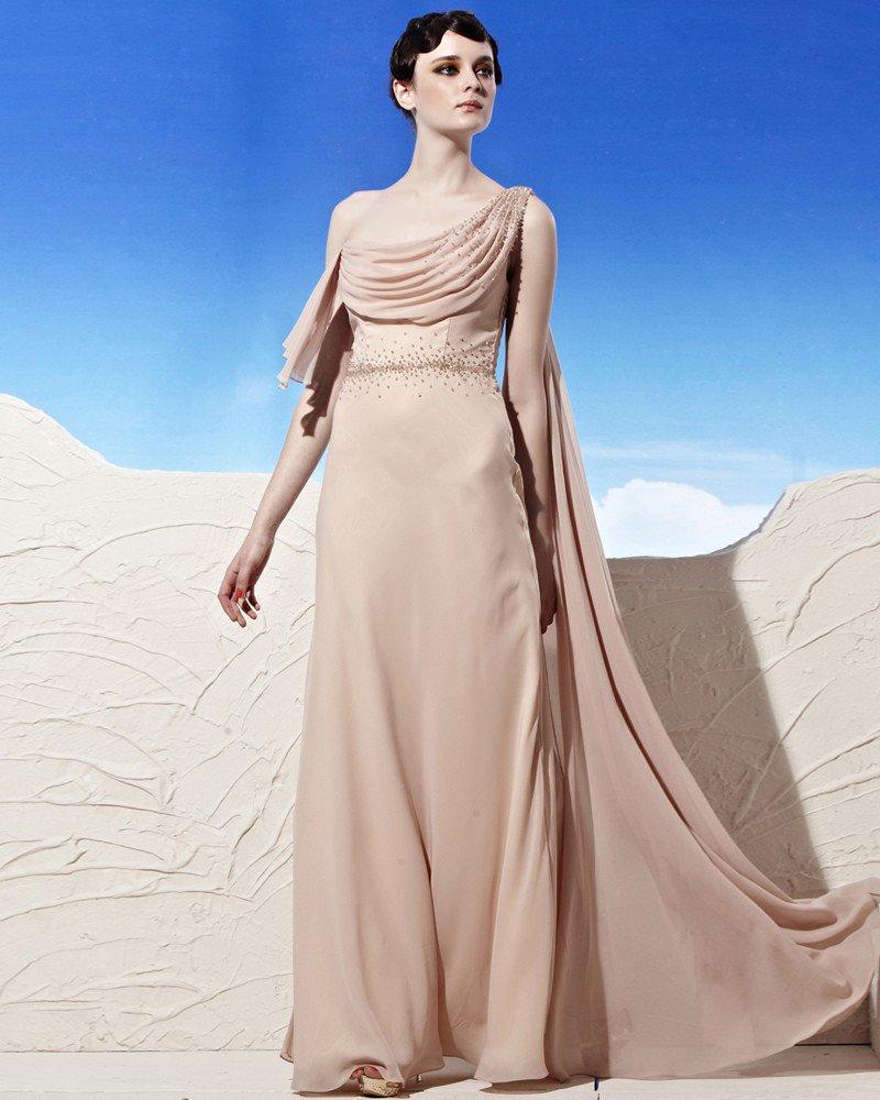Ruffles Asymmetrical Neckline Floor Length Sleeveless Beading Tencel Empire Woman Evening Dress