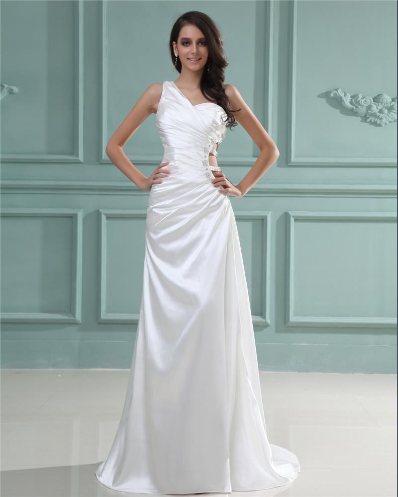 Charmeuse Beading One Shoulder Floor Length Evening Dress