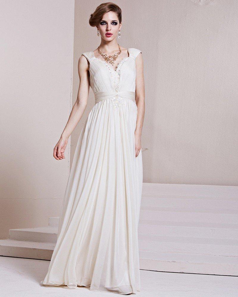 V Neck Sleeveless Floor Length Beading Pleated Satin Woman Evening Dress
