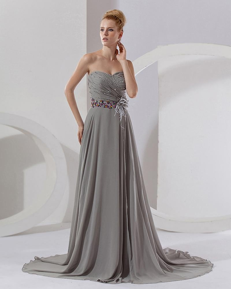 Empire Sweetheart Floor Length Chiffon Special Occasion Women's Celebrity Dress