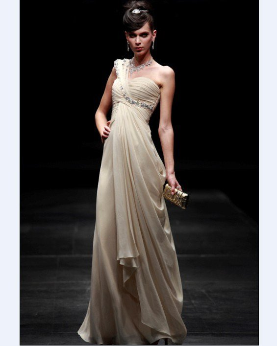One Shoulder Floor-length Composite Filament Evening Dress