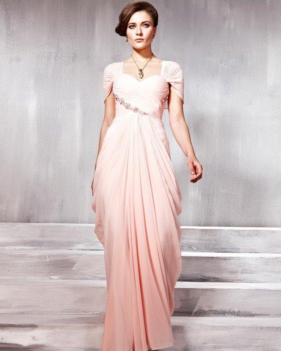 Tencel Charmeuse Beading Pleated Layered Sweetheart Floor Length Evening Dresses