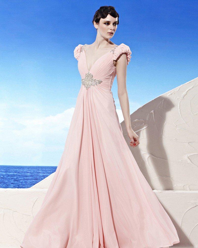 V Neck Beading Puff Short Sleeve Backless Floor Length Chiffon Woman Evening Dresses