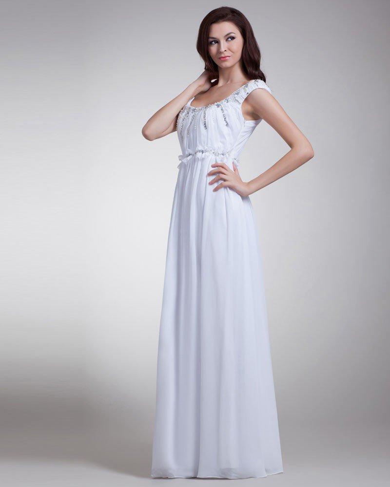Off Shoulder Beading Pleated Floor Length Chiffon Evening Dress