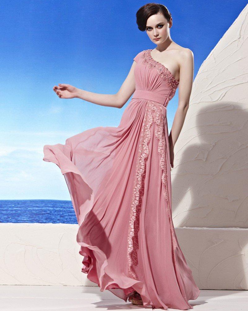 Asymmetrical Neckline Lace Beading Floor Length Composite Filament Empire Woman Evening Dress