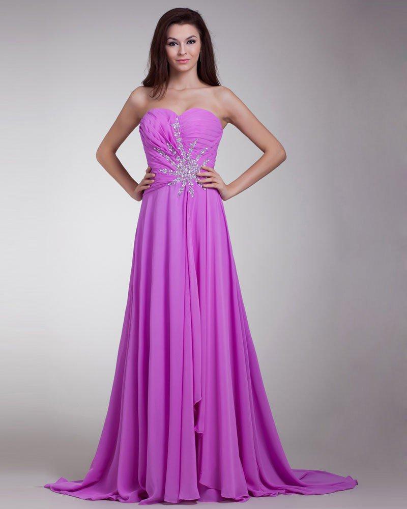 Sweetheart Beading Pleated Floor Length Chiffon Evening Dress
