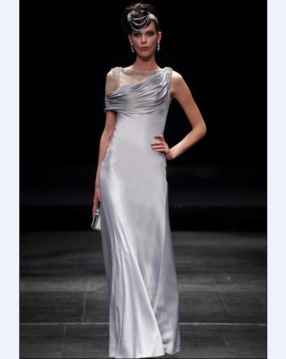 Empire Asymmetrical Neckline Floor Length Bead Satin Imitated Silk Evening Dresses