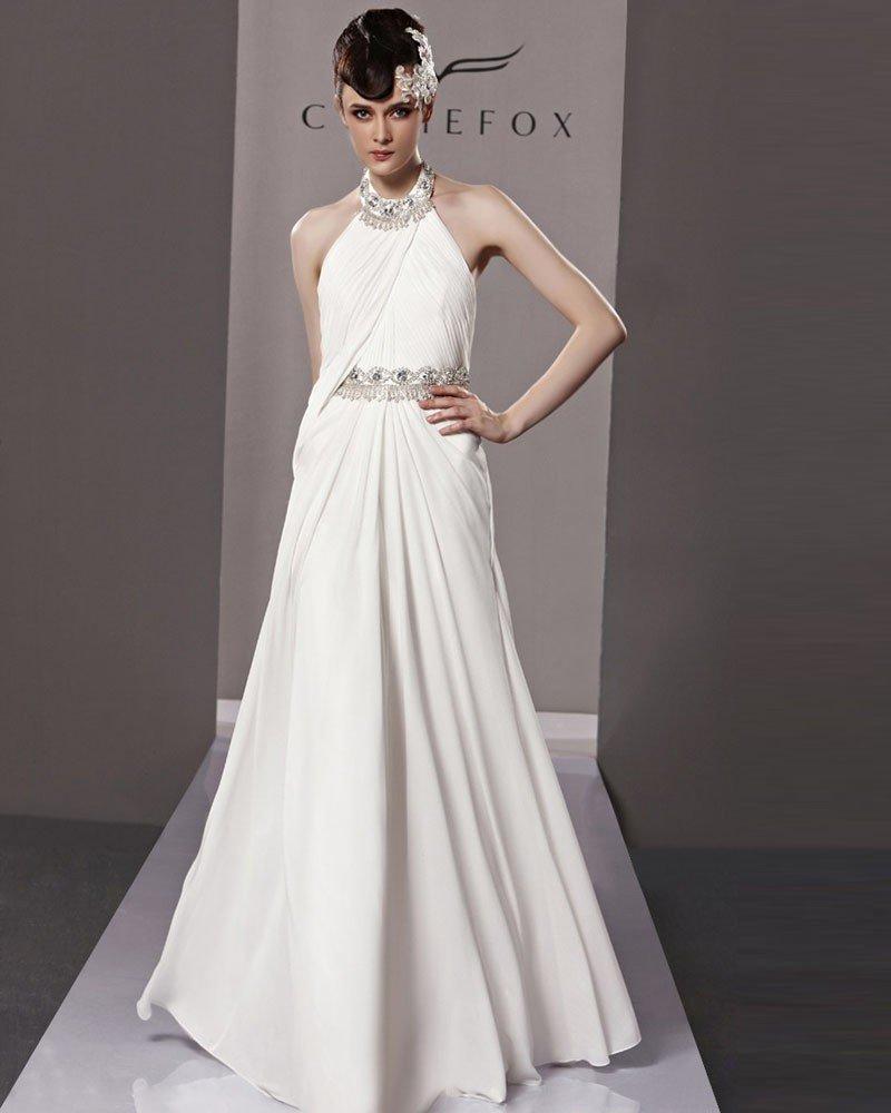 Slim Halter Floor Length Beading Chiffon Charmeuse Evening Dress