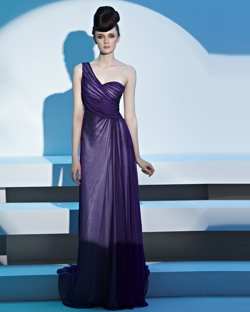 One Shoulder Beading Pleated Tencel Floor Length Women Evening Dress