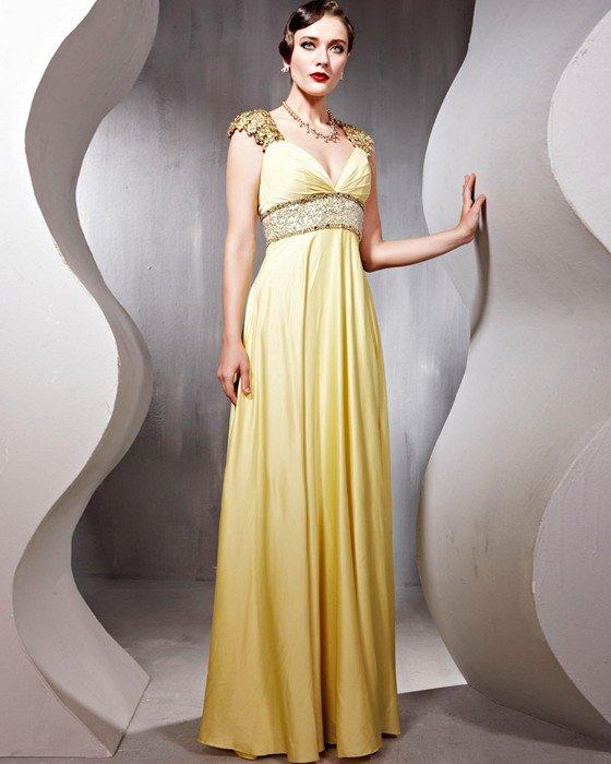 Silk Tulle Beading V Neck Floor Length Evening Dresses