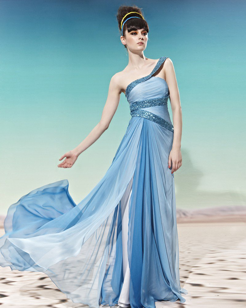 One Shoulder Sequin Sleeveless Backless Floor Length Tencel Woman Evening Dresses