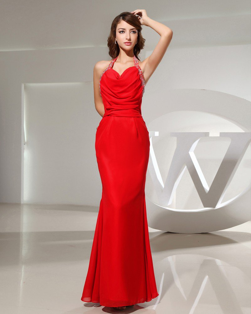 Halter Neckline Floor Length Sleeveless Pleated Beading Chiffon Mermaid Woman Evening Dress