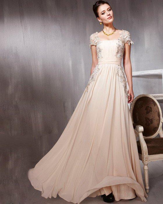 Tulle Chiffon Charmeuse Beading Applique Square Neck Floor Length Evening Dresses