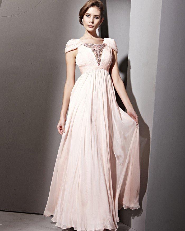 Tencel Satin Tulle Bead Handmade Puff Sleeve Floor Length Evening Dresses