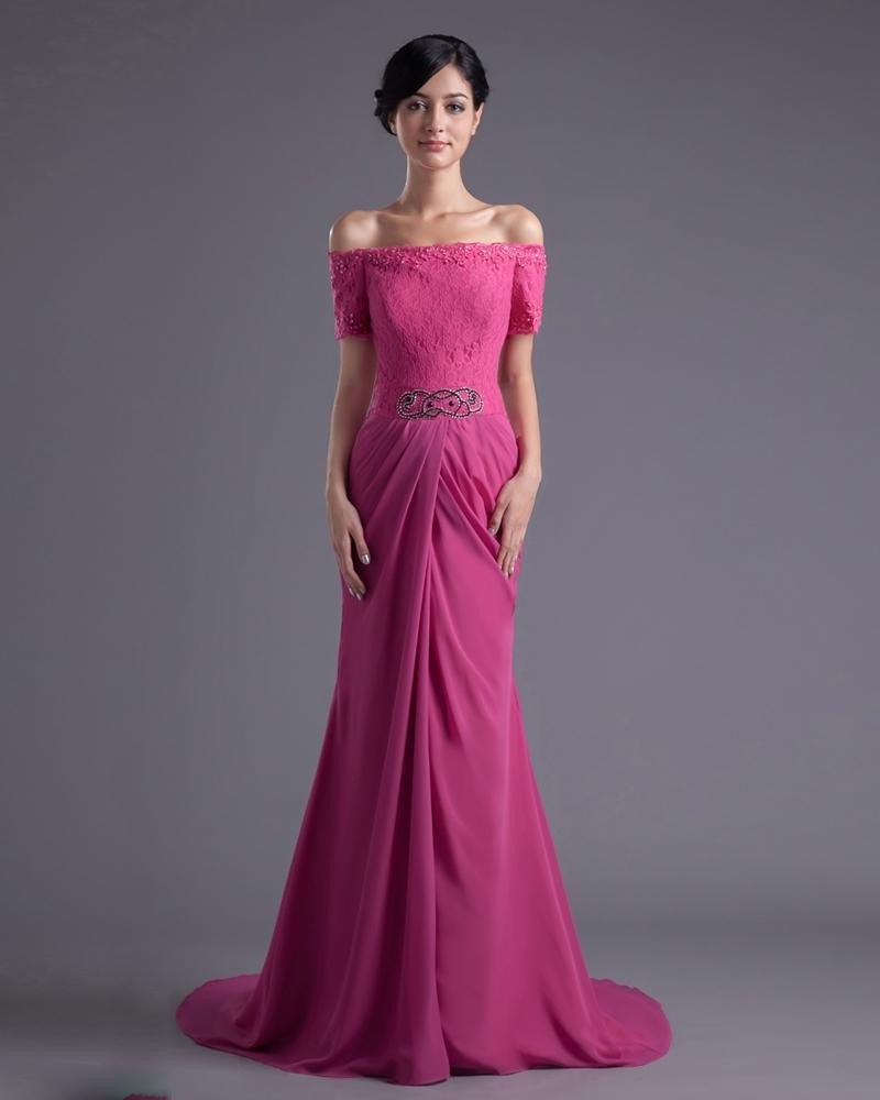 Fashion Chiffon Lace Beaded Off-Shoulder Floor Length Celebrity Dress