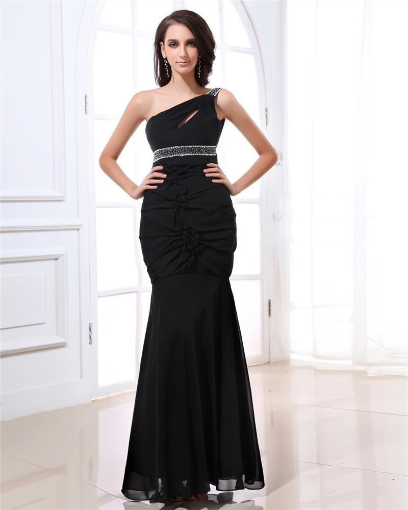 Stylish One Shoulder Beading Ruffle Ankle Length Chiffon Evening Dresses