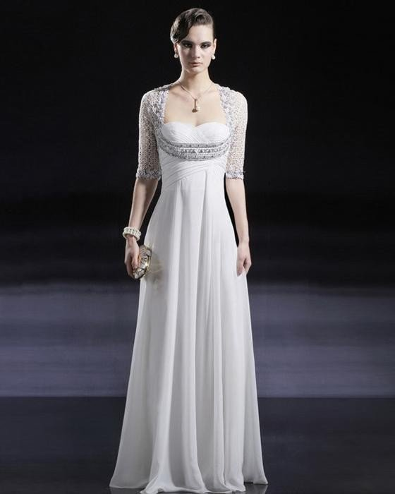 Unique Cloth Chiffon Beaded Sweetheart Floor Length Evening Dress