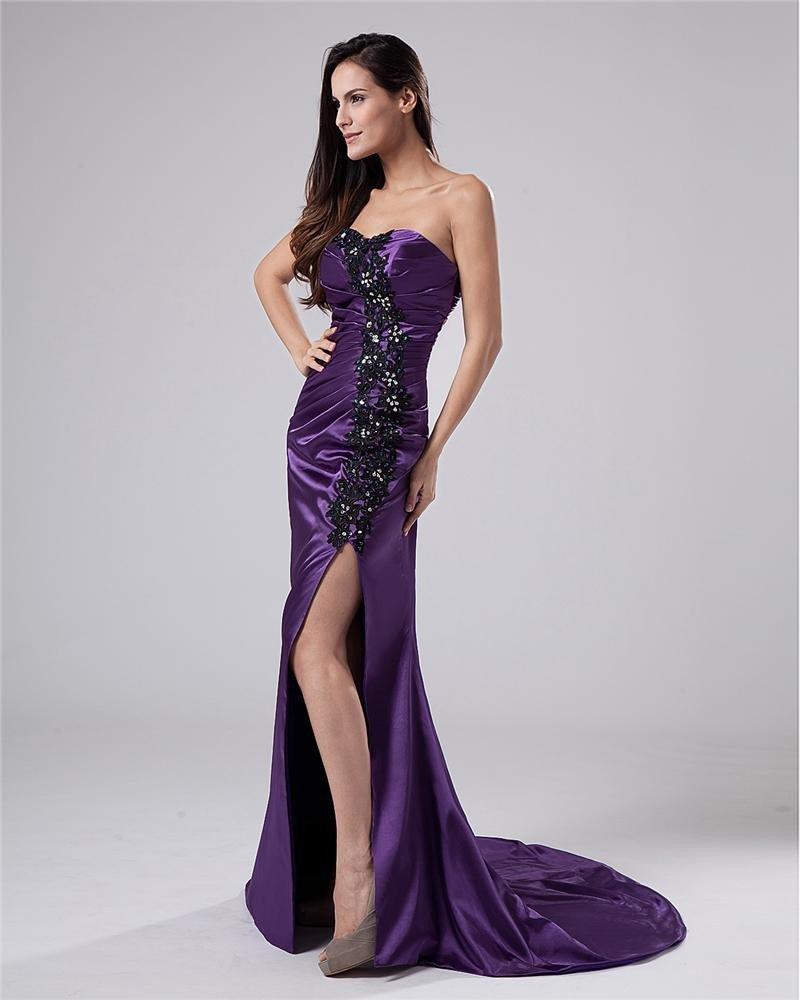Charmeuse Sweetheart Beads Floor Length Evening Dresses