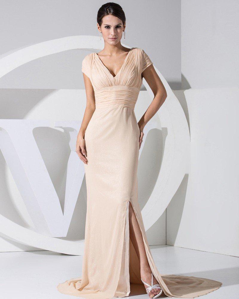 Fashion Chiffon Charmeuse Satin Pleated Slim Court Train V-Neck Short Sleeve Women Evening Dress