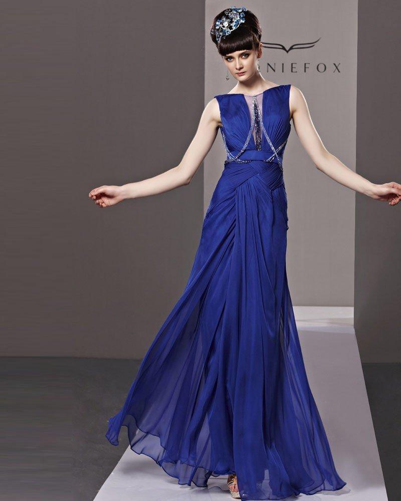 Bateau Pleated Beading Floor Length Tencel Woman Evening Dress