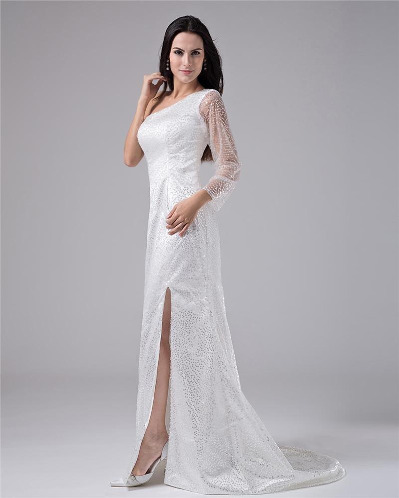 One Shoulder Chiffon Floor Length Evening Dress