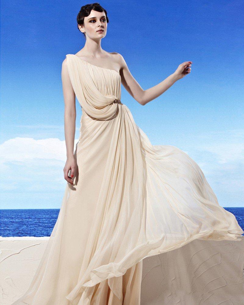 Sloping Neckline Floor Length Sleeveless Beading Empire Tencel Woman Evening Dress