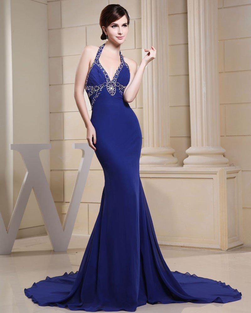 Fashion Chiffon Charmeuse Silk Beaded Halter V Neck Court Train Sleeveless Women Evening Dress