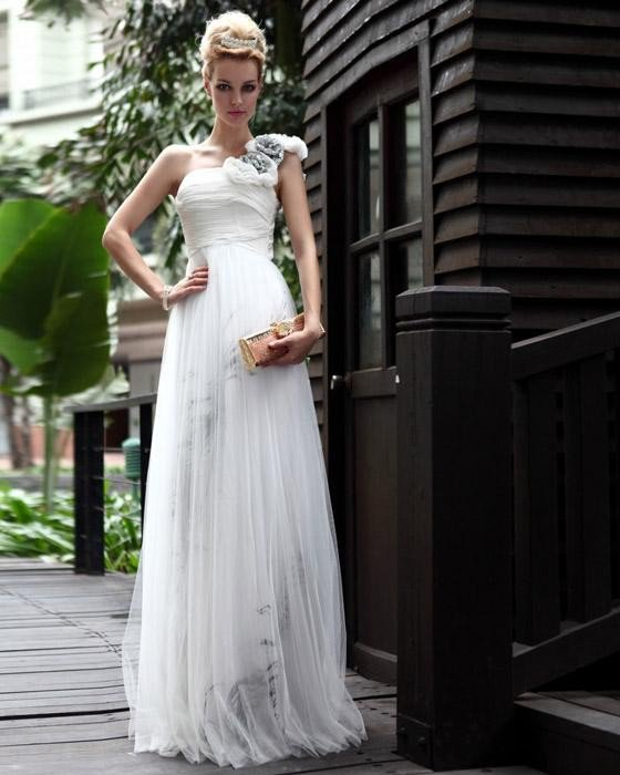 Silk Hand Flower One Shoulder Floor Length Evening Dresses