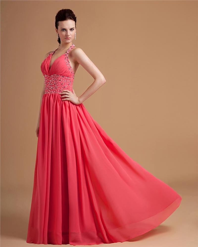 Chiffon Halter Beading Pleated Floor Length Evening Dresses