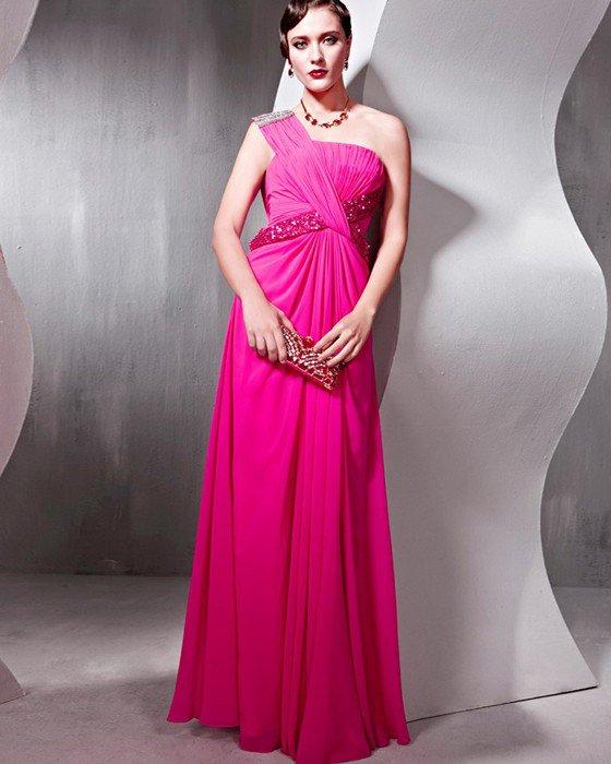 Sequin Tencel Charmeuse Beading One Shoulder Ruffle Floor Length Evening Dresses