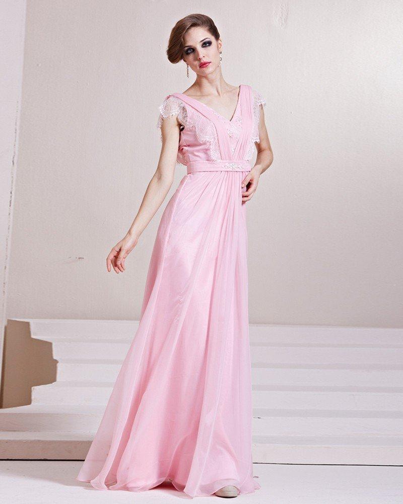 Fashion Tencel Charmeuse Beaded V Neck Floor Length Evening Dress