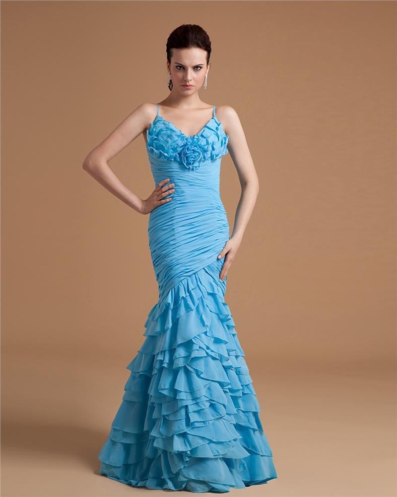Ruffle Spaghetti Straps Floor-Length Chiffon Womens Evening Dress