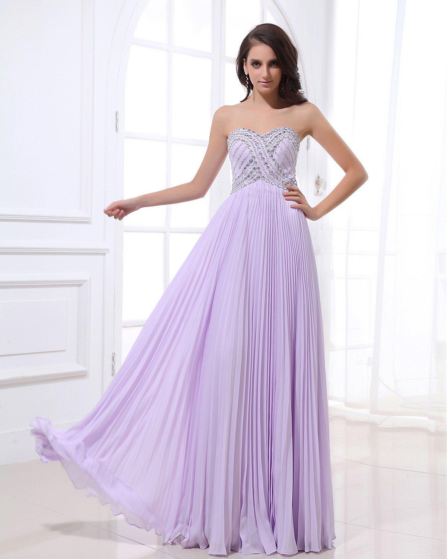 Strapless Neckline Floor Length Beading Pleated Chiffon Empire Woman Evening Dress