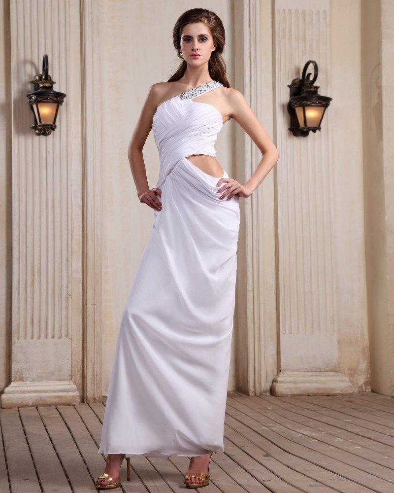 Sleeveless Chiffon Beading Ruffles One Shoulder Floor Length White Evening Dresses