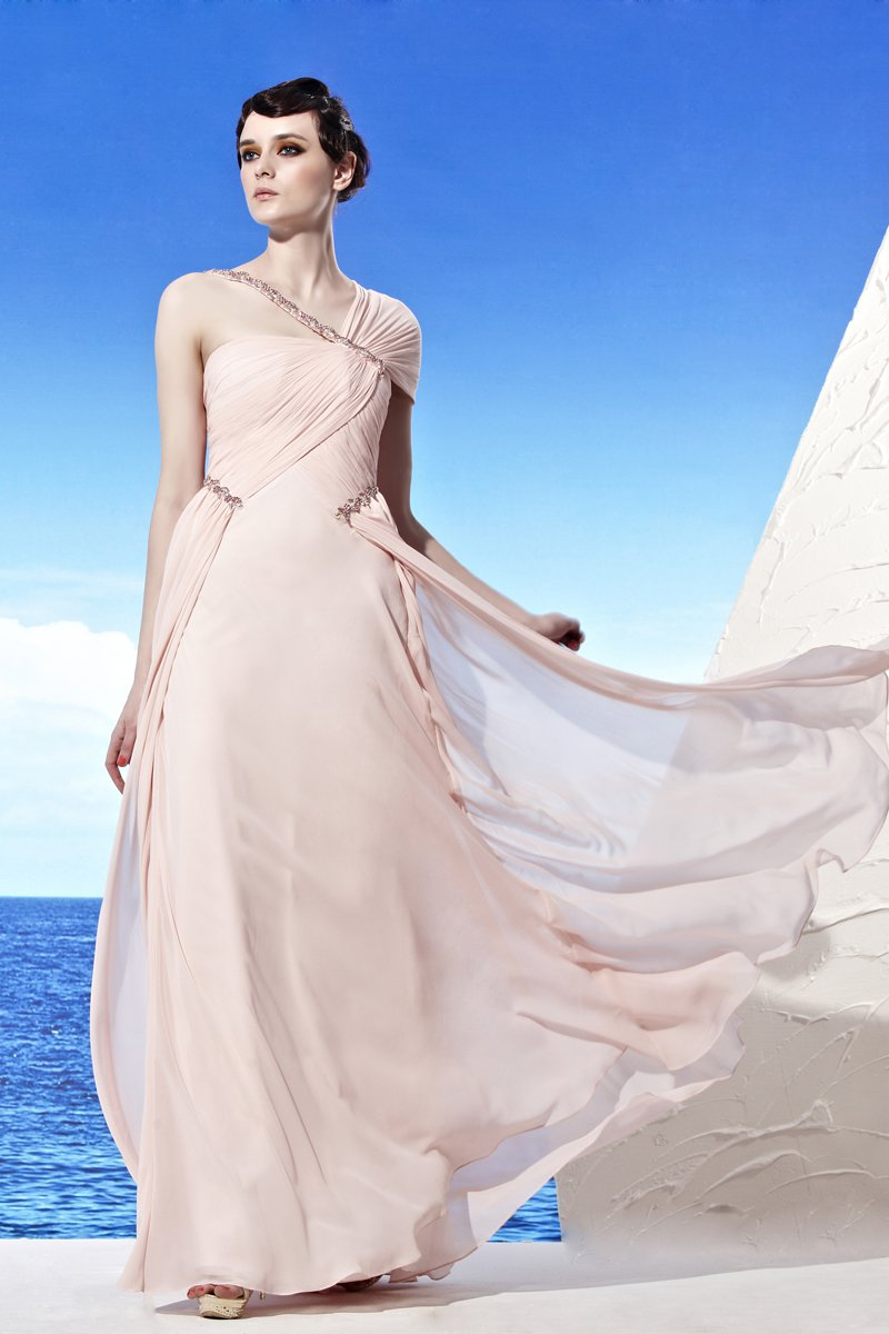 Strapless Wrap One Should Shoulder Sleeveless Floor Length Tencel Woman Evening Dresses
