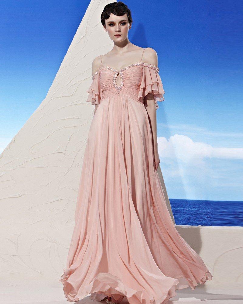 Sweetheart Neck Rhinestone Short Layered Sleeve Zipper Floor Length Tencel Woman Evening Dresses