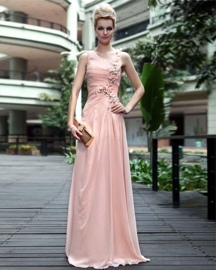 Silk Jewel Drape Applique Floor Length Evening Dress
