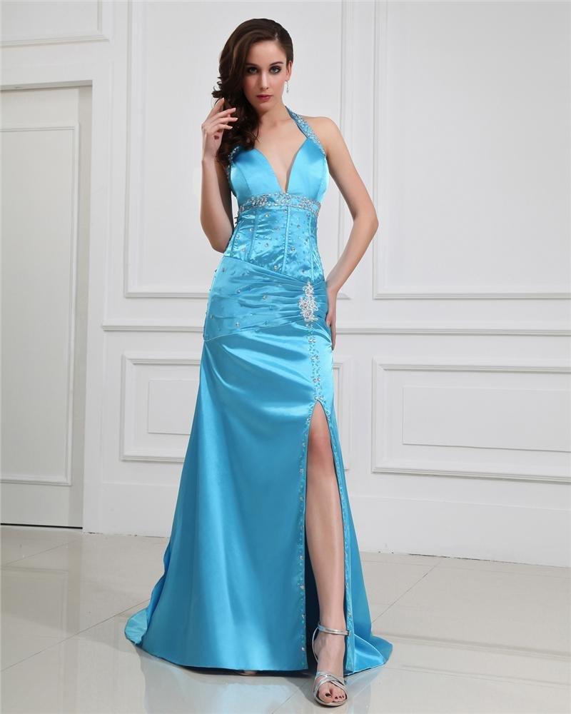 Sheath Halter V-Neck Empire Waist Floor-Length Evening Dress