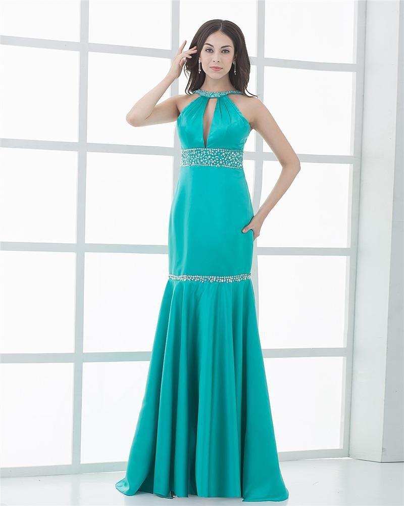 Trumpet Jewel Silk Beading Floor Length Evening Dresses